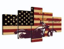 Home Decor Modern Canvas Print Vintage American Flag Pictures Paintings on Canvas 5 Panel Posters and Prints Wall Art for Living Room Bedroom Print Gallery Wrap Framed Ready to Hang(60''W x 32''H)