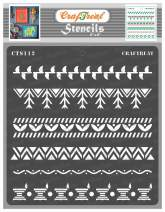 CrafTreat Warli Indian Stencils for Painting on Wood, Wall, Tile, Canvas, Paper, Fabric and Floor - Warli Borders Stencil - 6x6 Inches - Reusable DIY Art and Craft Stencils - Warli Stencil