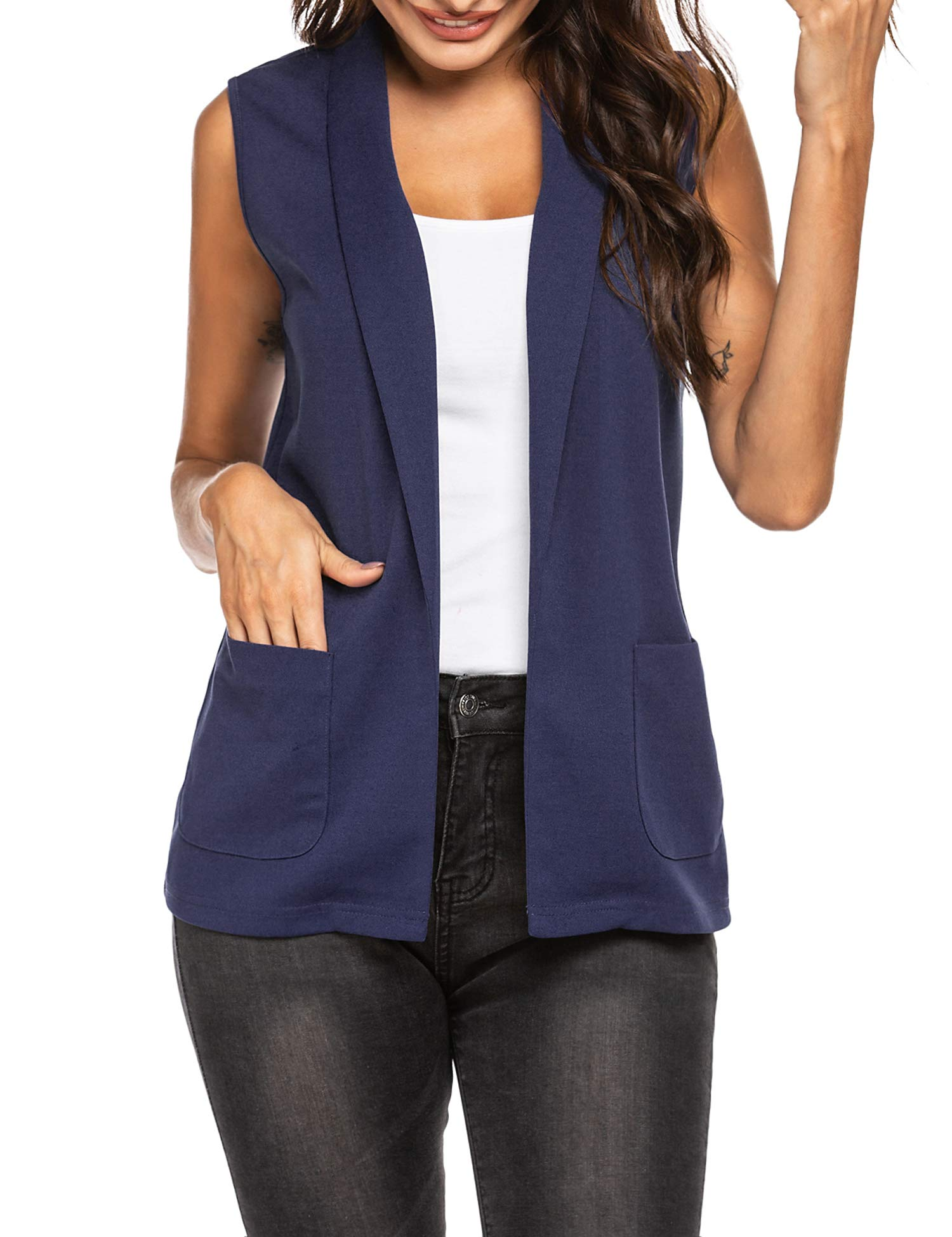 HOTLOOX Women's Sleeveless Blazer Open Front Office Casual Vest Lapel Collar Cardigan with Pockets S-XXL