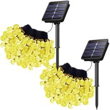 HareySikr Upgrade Larger Solar Powered Fairy Crystal Globe Ball String Lights Outdoor Waterproof 8 Modes Twinkle Starry Lighting (2 Pack 50 Feet 100 LED, Orange)