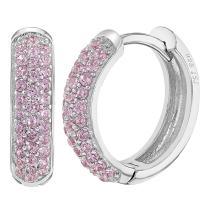"""925 Sterling Silver Micro Pave Cubic Zirconia Huggie Hoop Women Earrings 0.55"""""""
