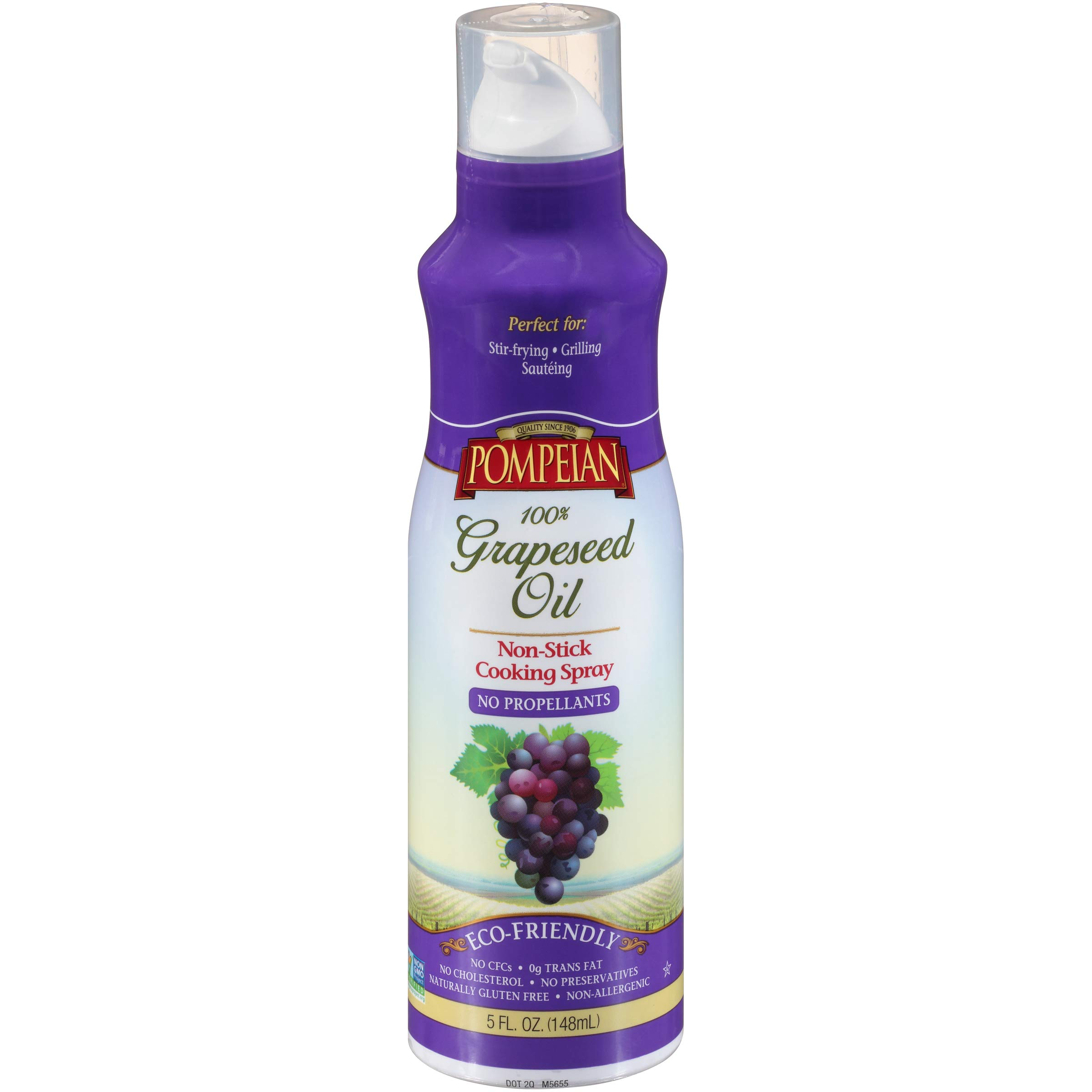 Pompeian 100% Grapeseed Oil Non-Stick Cooking Spray, Perfect for Stir-Frying, Grilling and Sauteing, Naturally Gluten Free, Non-GMO, No Propellants, 5 FL. OZ., Single Bottle
