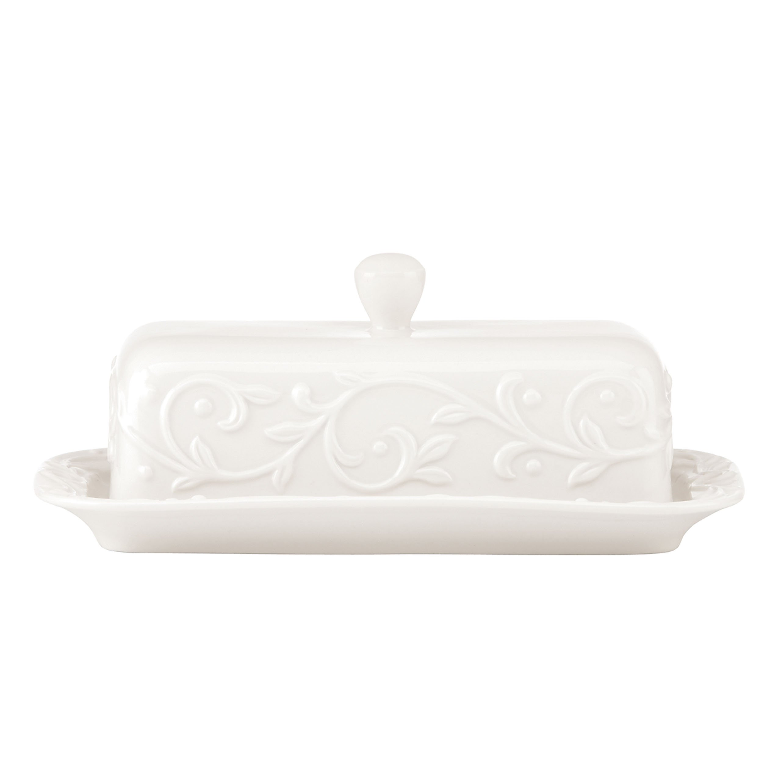 Lenox Opal Innocence Carved Butter Dish, White - 826012