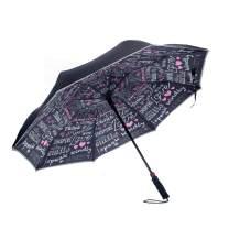 Revers-A-Brella Inspirational Sayings Black 31 inch Auto Open No Drip Inverted Straight Handle Umbrella