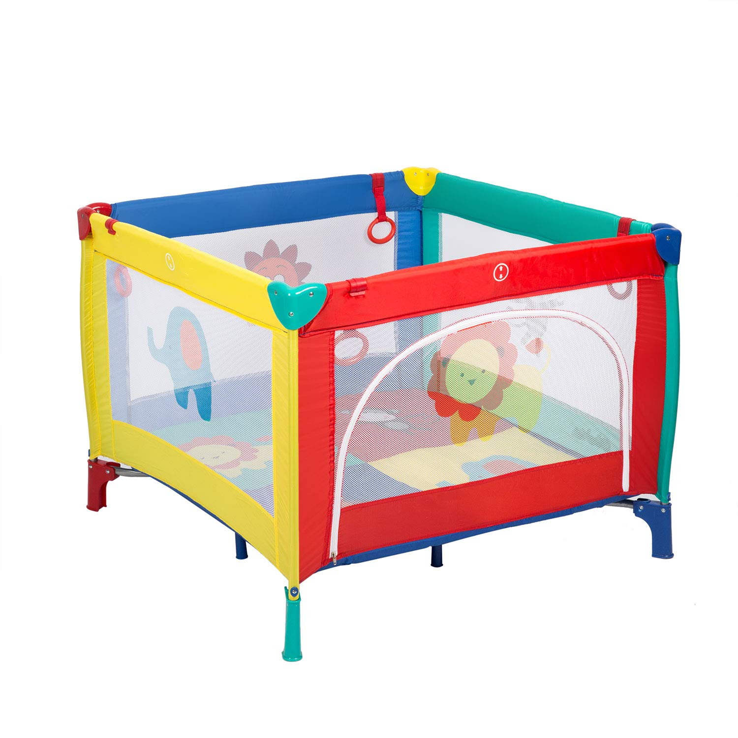 Baby Playpen Foldable Travel Crib Safe Activity Center Playard with Zipper Door for Infants and Toddlers