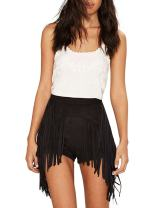 HAOYIHUI Women Solid Tassel High Waist Fringe Punk Party Bodycon Shorts