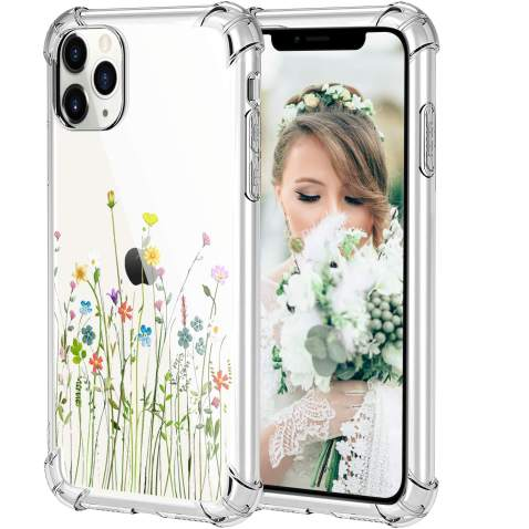 HBorna Case for iPhone 11 Pro Max, Soft Silicone Clear Cover for Women, with Design Floral Pattern, Slim Protective TPU Case for 2019 iPhone 11 Pro Max 6.5 Inch, Bouquet