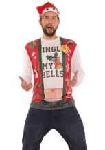 Faux Real Men's 3D Photo-Realistic Naughty Ugly Christmas Sweater Long Sleeve T-Shirt
