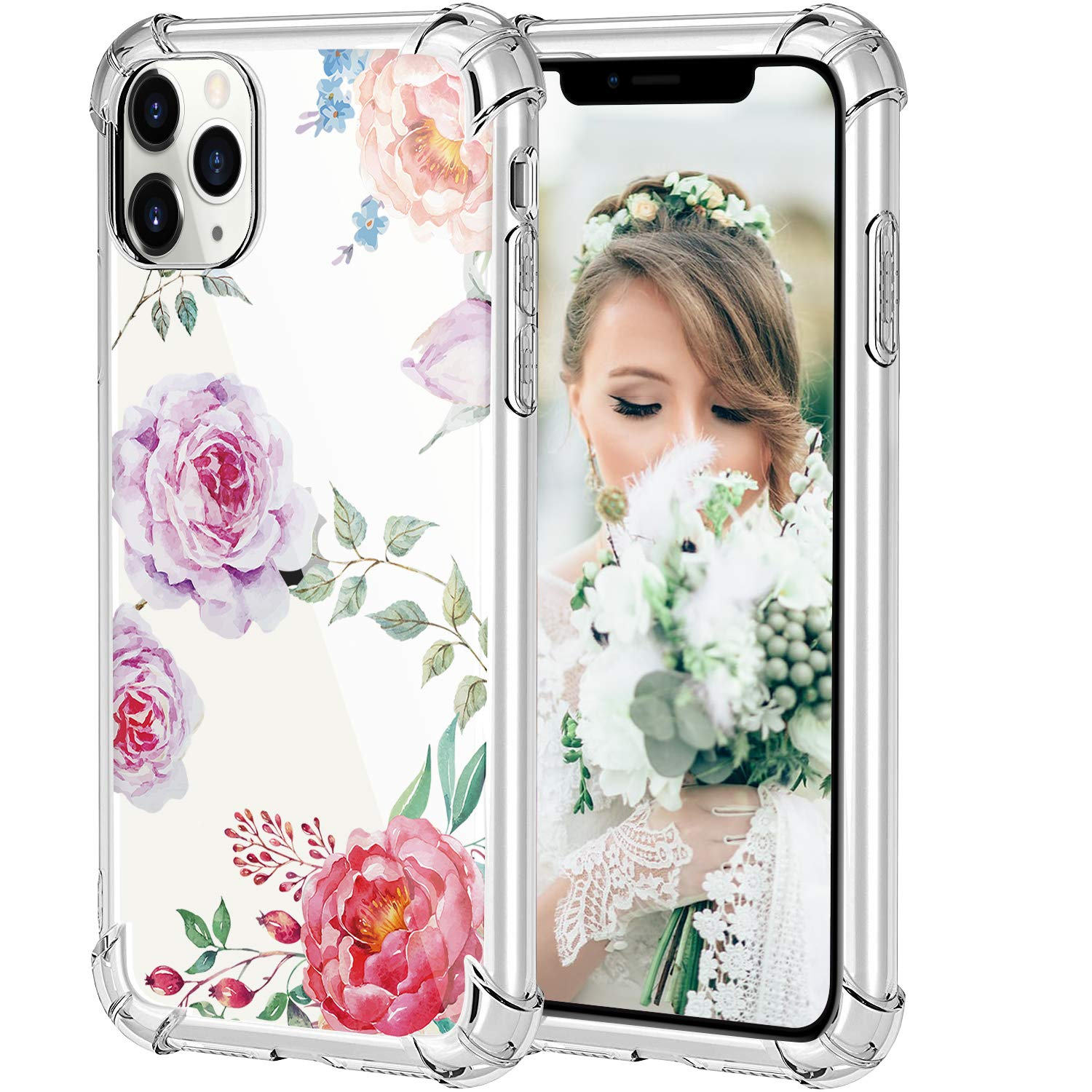 HBorna Case for iPhone 11 Pro, Soft Silicone Clear Cover for Women, with Design Floral Pattern, Slim Protective TPU Case for 2019 iPhone 11 Pro 5.8 Inch, Peony