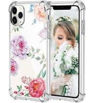 HBorna Case for iPhone 11 Pro Max, Soft Silicone Clear Cover for Women, with Design Floral Pattern, Slim Protective TPU Case for 2019 iPhone 11 Pro Max 6.5 Inch, Peony