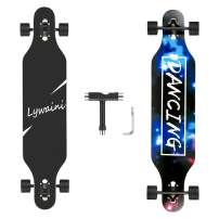 Lywaini Longboard Skateboard 41 inch Drop Through Complete Skateboard Cruiser for Cruising, Carving, Free-Style and Downhill