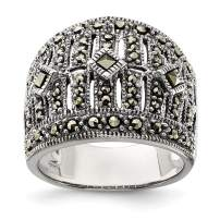 925 Sterling Silver Marcasite Band Ring Fine Jewelry Gifts For Women For Her