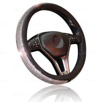 Car Crystal Bling Wheel Cover- Zone Tech Shiny Steering Wheels- Anti-Slip Rhinestones PU Leather Backing- Bling Shiny Diamond Wheel Protector