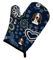 Caroline's Treasures BB5094OVMT Blue Flowers Basset Hound Oven Mitt, Large, multicolor
