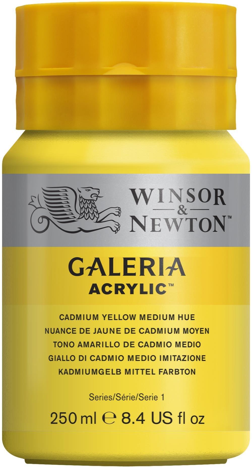 Winsor & Newton Galeria Acrylic Paint, 250ml Bottle, Cadmium Yellow Medium Hue