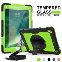 iPad Air 2 Case, iPad 6th Generation Case Kids, iPad 9.7 Protective Case with Screen Protector, SMAPP, Compatible with iPad 5th/6th/Air 2/Pro 9.7 (Green+Black)