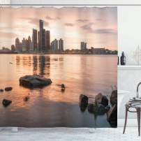 """Ambesonne Detroit Shower Curtain, Idyllic Sunset View with High Rise Buildings Riverfront Rocks Calm Peaceful, Cloth Fabric Bathroom Decor Set with Hooks, 75"""" Long, Coral Brown"""