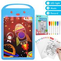 Lehoo Castle LED Writing Tablet for Kids, 8.5 Inch Drawing Pad with LED Light Music and Record, Doodle Board with 10 Drawing Stencil, Electronic Doodle Pads Writing Board for Kids