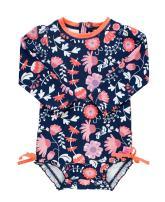 RuffleButts Baby/Toddler Girls Botanical Beach One Piece Rash Guard - 2T