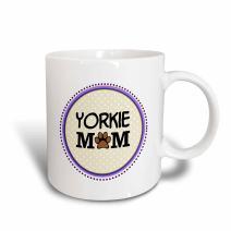 3dRose 151839_6 Yorkie Dog Mom Mug, 11 oz, Blue