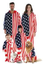 Family Pajamas Matching Sets, Drop Seat Onesie Hooded Zip Up Flannel One Piece Pajama for Couples, Kids, Babies, Dogs, Cats