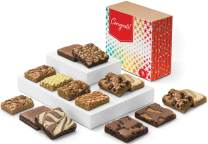 Fairytale Brownies Congratulations Bar & Brownie Combo Gourmet Chocolate Food Gift Basket - 3 Inch Square Full-Size Brownies and 3 Inch x 2 Inch Blondie Bars - 15 Pieces - Item CG381