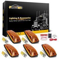 Partsam 5X 264159AM 5-5050-SMD T10 194 Amber LED Cab Marker Roof Running Lights + Wiring Pack Compatible with / C1500 C2500 C3500 K1500 K2500 K3500 1988-2002 Pickup Trucks
