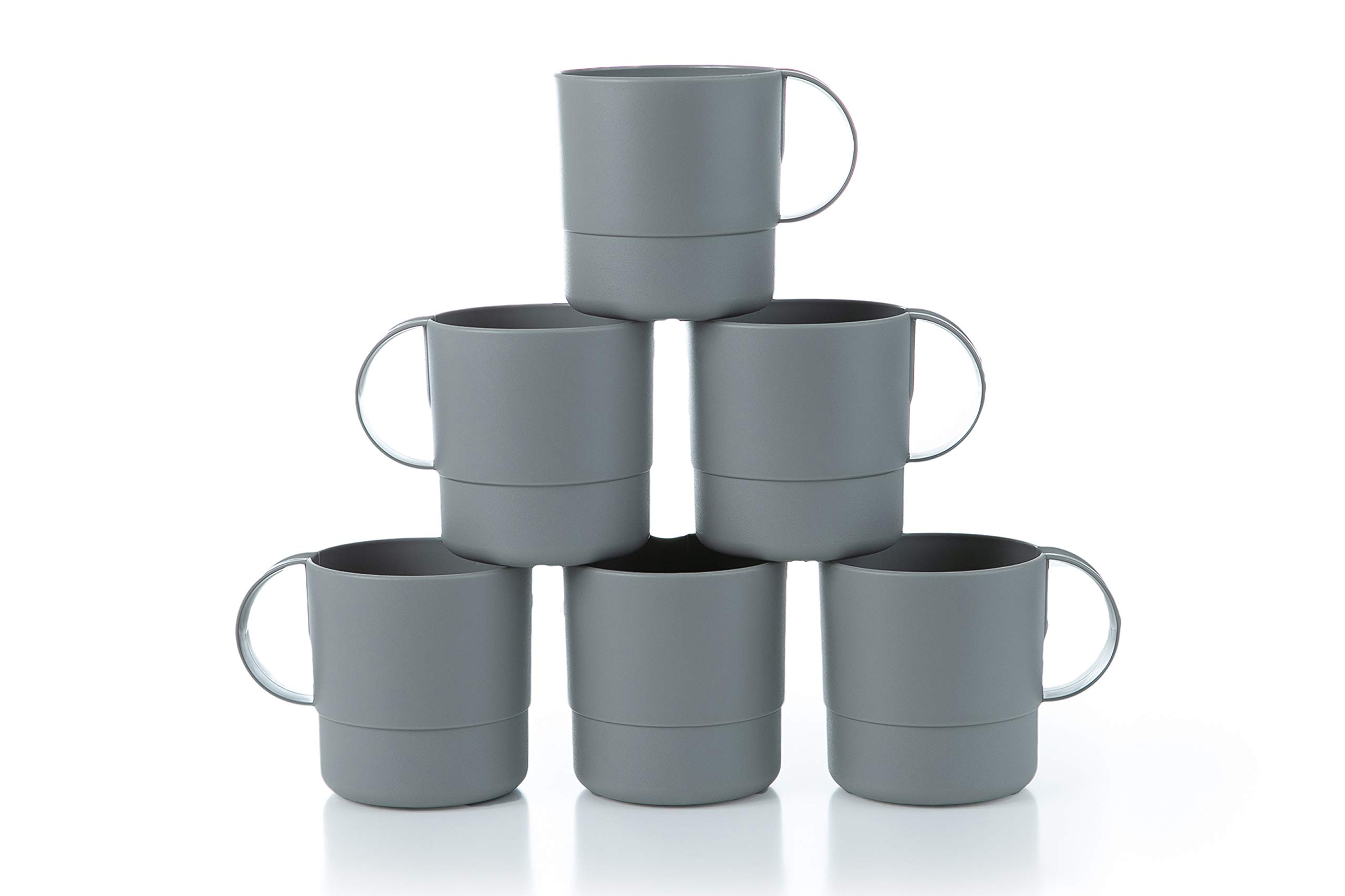 Amuse- Eco Friendly Sturdy Unbreakable & Stackable Mugs for Water, Coffee, Milk, Juice, Tea- Set of 6-11 oz (Gray)