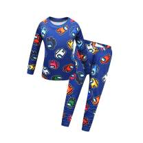 Boys Long Sleeve Cartoon Pants Set Among Game Role Print Pajamas Set 2-Pieces Tops and Pants