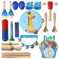 Lujex Kids Wooden Percussion Instrumental Musical Instrument Toy Set with Backpack Bag
