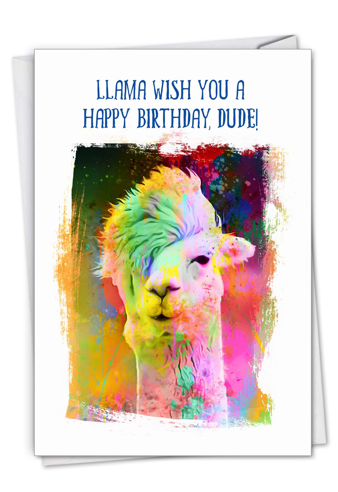 Funky Rainbow Llamas - Watercolor Happy Birthday Greeting Card with Envelope (4.63 x 6.75 Inch) - Colorful Painted Zoo Animal, Cool Bday Note Card for Kids - Stationery for Girls and Boys C6862EBDG