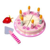 ELIITI Wooden Birthday Cake Toy Pretend and Play Bakery Set Cutting Food Educational Toy for Kids Girls 3-5 Years Old