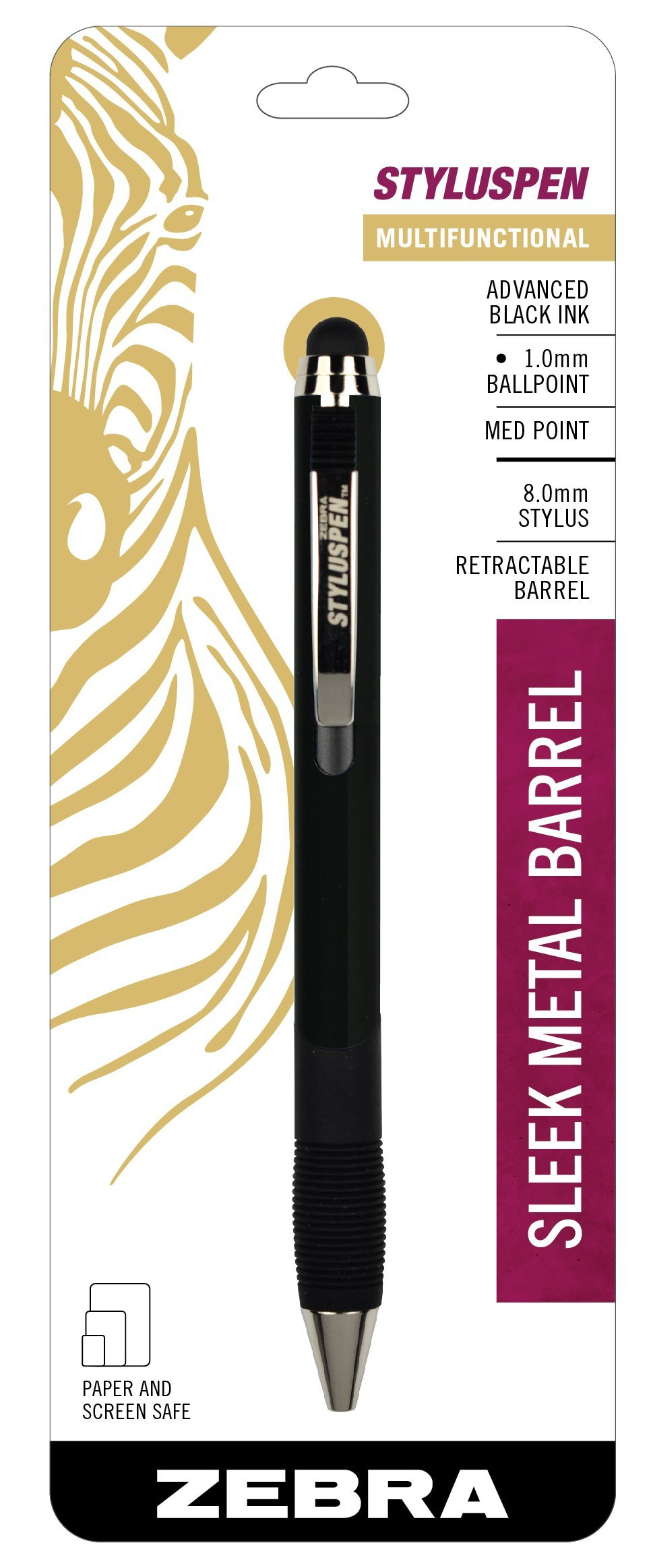 Zebra StylusPen Retractable Ballpoint Pen, Medium Point, 1.0mm, Black Ink, Onyx Barrel, 1-Count