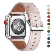 WFEAGL Compatible iWatch Band 38mm 40mm 42mm 44mm, Top Grain Leather Band for iWatch Series 5,Series 4,Series 3,Series 2,Series 1 & All Series (Pink Sand Band+Silver Adapter, 42mm 44mm)