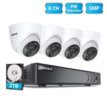 ANNKE 5MP Security Camera System, 4pcs 5MP Wired CCTV Outdoor Cameras with PIR Sensor, 8CH H.265+ Video DVR Recorder with 2TB Hard Drive for Home Expandable Surveillance System