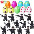 """Tinabless 12 Pcs Pre Filled Easter Eggs with SWAT Building Blocks - Mini Figurine Toys - 2.36"""" Eggs for Easter Basket Stuffers, Easter Party Favors, Easter Egg Hunt, Classroom Events"""