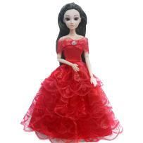 WNOLTEAB Kid Toy Doll Made to Move Dolls Children Holiday Wedding Birthday Toy Fashion Wishes Doll with Floral Red Dress Yarn and Cloth Trailing Party Flower Skirt Multi-Jointed Body Toys