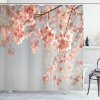 """Ambesonne Peach Shower Curtain, Japanese Scenery Sakura Tree Cherry Blossom Nature Photography Coming of Spring, Cloth Fabric Bathroom Decor Set with Hooks, 75"""" Long, Bluegrey Coral"""