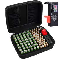 Battery Organizer Storage Box Case Holder for 48 x AA, 48 x AAA Total 96 Batteries with Battery Tester, Extra 2 Pockets for Other Accessories