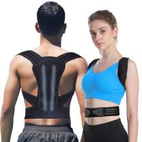 Posture Corrector for Women and Men KarmaRebirth Back Brace with Fully Adjustable Straps Shoulder Cushion Improves Posture Provides Lumbar Support Relieve Lower and Upper Back Pain (Upgrade Style)