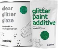 Hemway Clear Glitter Paint Glaze (Emerald Green) 1L / Quart for Pre-Painted Walls Acrylic, Latex, Emulsion, Ceiling, Wood, Varnish, Dead Flat, Matte, Soft Sheen, Silk (Choice of 25 Glitter Colours)