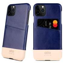 Alto Metro Phone Case for iPhone 11 Pro (5.8 inch) - Premium Handmade Italian Leather Wallet Case with Card Holder Design (Navy/Original)