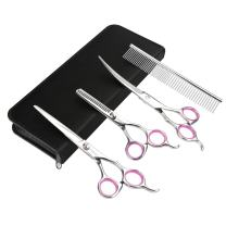 GEMEK Pet Cat Dog Grooming Scissors Set 4 Pieces Stainless Steel Professional Pet Trimmer Kit - 7.5 inch Straight Cutting Scissors, Thinning Shears, Curved Scissors, Grooming Combs