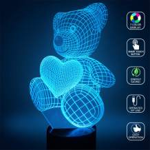 Teddy Bear 3D Illusion Lamp Night Light YKL WORLD 7 Color Changing Touch Control LED Table Lamp Nursery Bedroom Decor Christmas Birthday Gifts Toys for Kids Girls Animal Lover