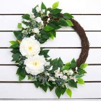 Olivachel Artificial White Flowers Peony Wreath for Front Door Farmhouse Wreath for All Seasons Christmas Wedding Real Looking and Touching (Peony Wreath - Half Coverage, 22 inch)