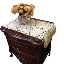 USTIDE Floral Crochet Table Runner 15X27inches , 2PC Beige Cotton Table Doilies for Dressers and End Tables,Crochet Table Placemats Nightstand Runner