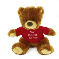 Plushland Honey Noah Teddy Bear 12 Inch, Stuffed Animal Personalized Gift - Custom Text on Shirt - Great Present for Mothers Day, Valentine Day, Graduation Day, Birthday (Red Shirt)