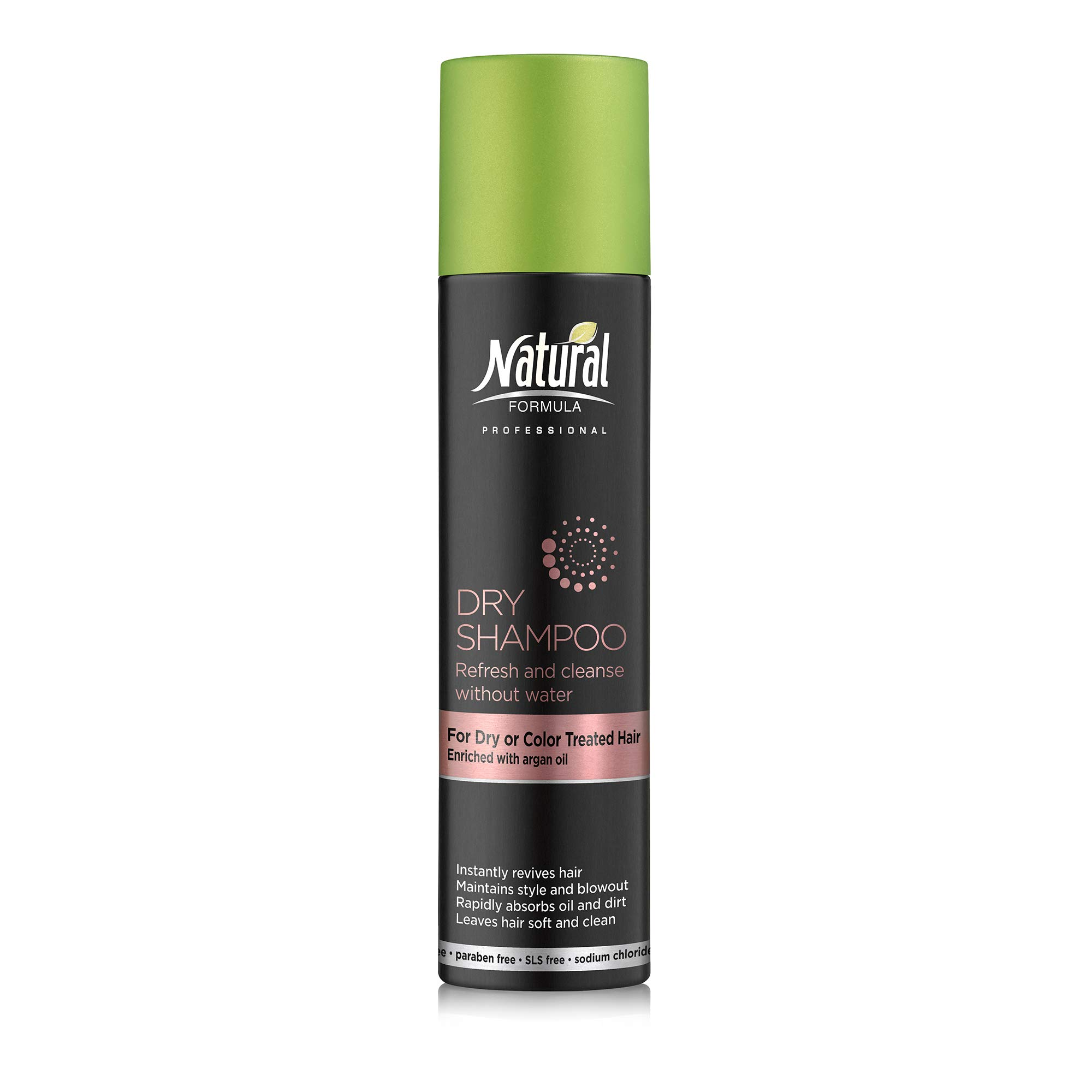 Natural Formula Dry Shampoo For Dry, Damaged or Color Treated Hair - Argan Oil Infused Dry Shampoo Hair Spray – Leaves No White Residue - Sodium Chloride Salt, Talc, SLS And Paraben Free 6.76 Fl Oz