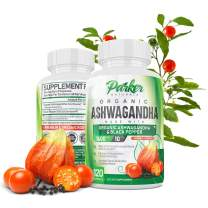 Organic Ashwagandha 1600mg with 10mg Black Pepper. Maximum Strength 120 Capsules. Boosts Energy & Immune System, Improves Focus & Concentration, Reduces Stress & Stabilizes Mood. Made in USA