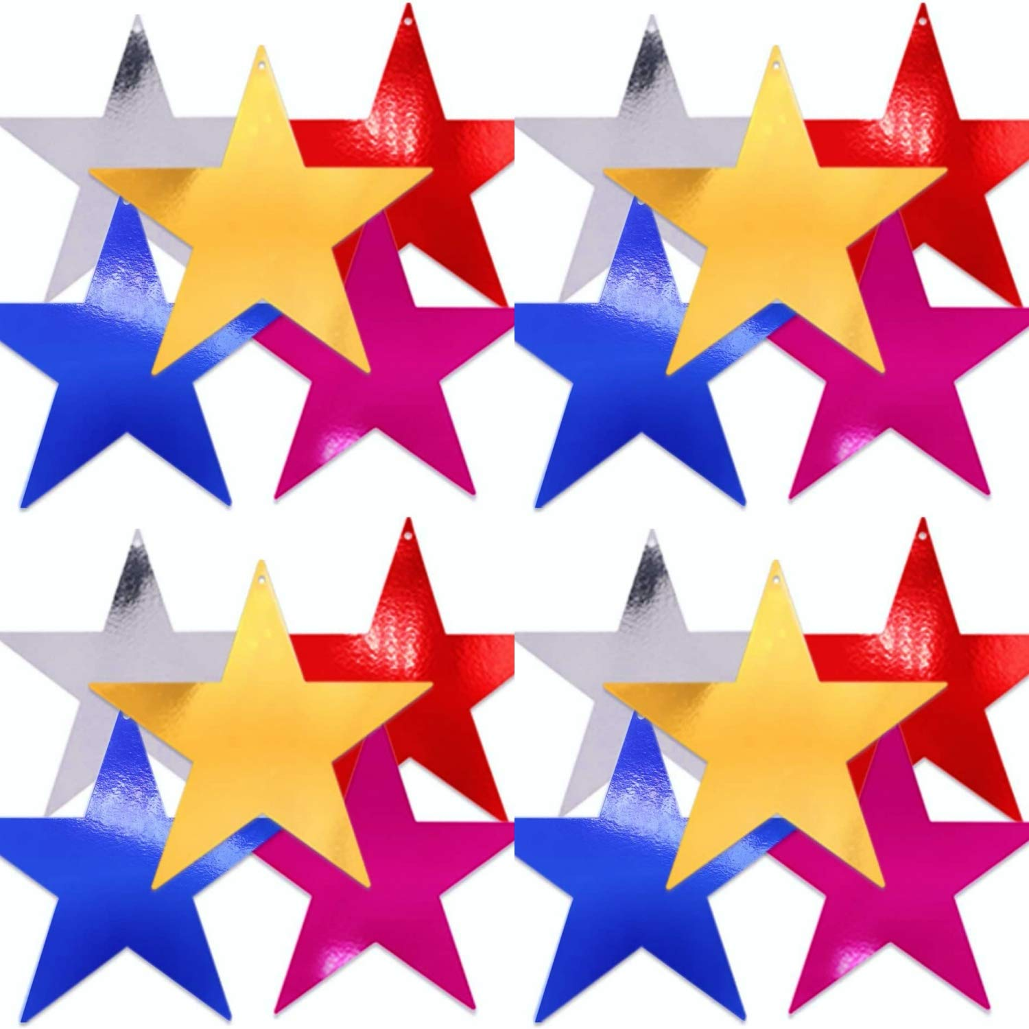 UNIQOOO 30Pcs Assorted Metallic Foil Star Cutout Accents,100% Recyclable Paper Cardboard, Pre-Punched Hole, for Kids Birthday Party Favors Banner Garland Decor, Classroom Bulletin Board Craft, 9 Inch